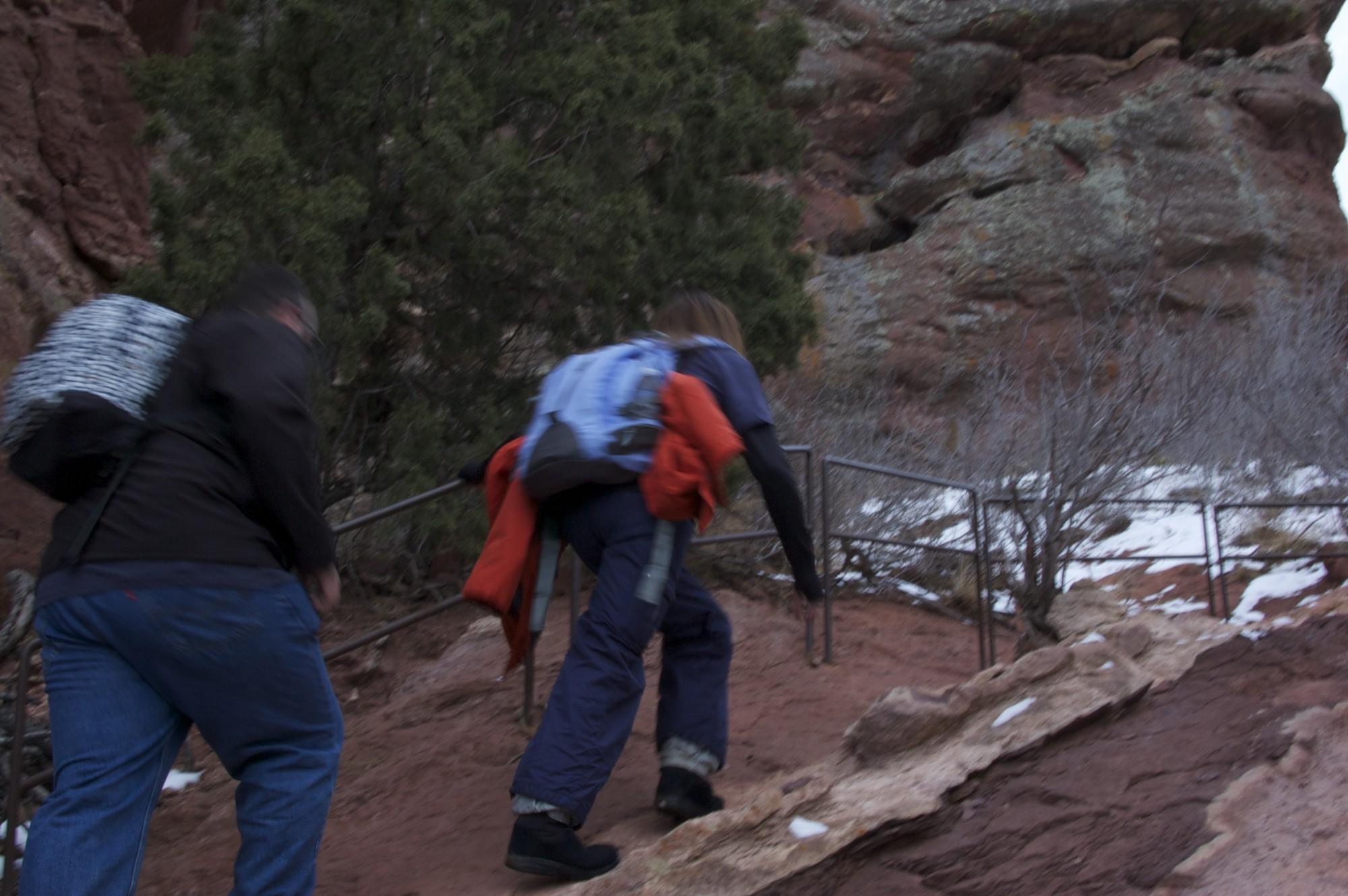 Beana and John going uphill