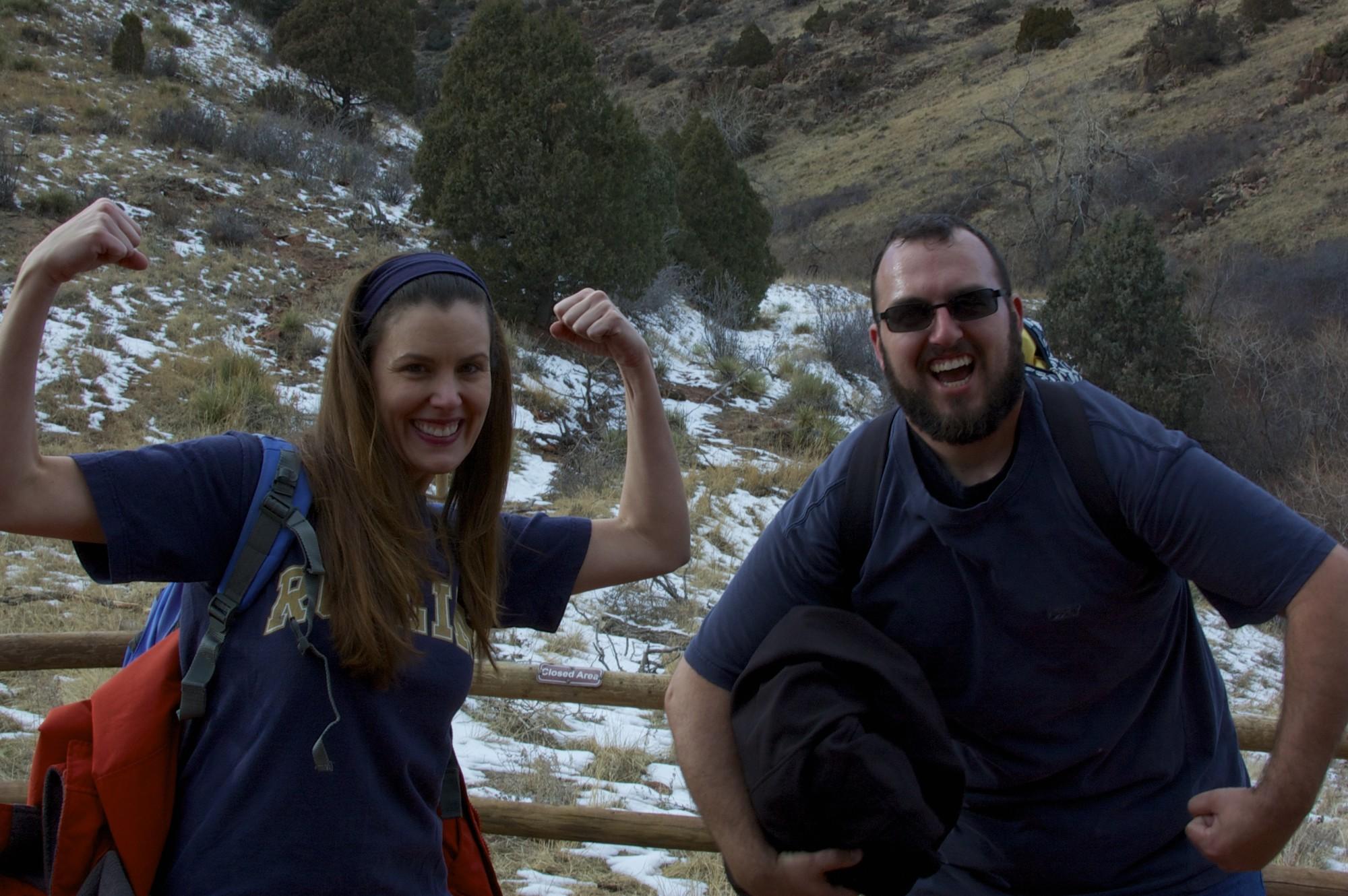 Beana and John acting tough at the top of Red Rocks