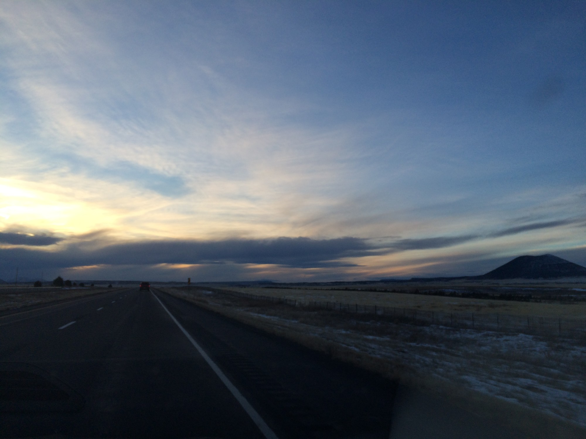 Driving down the highway in New Mexico