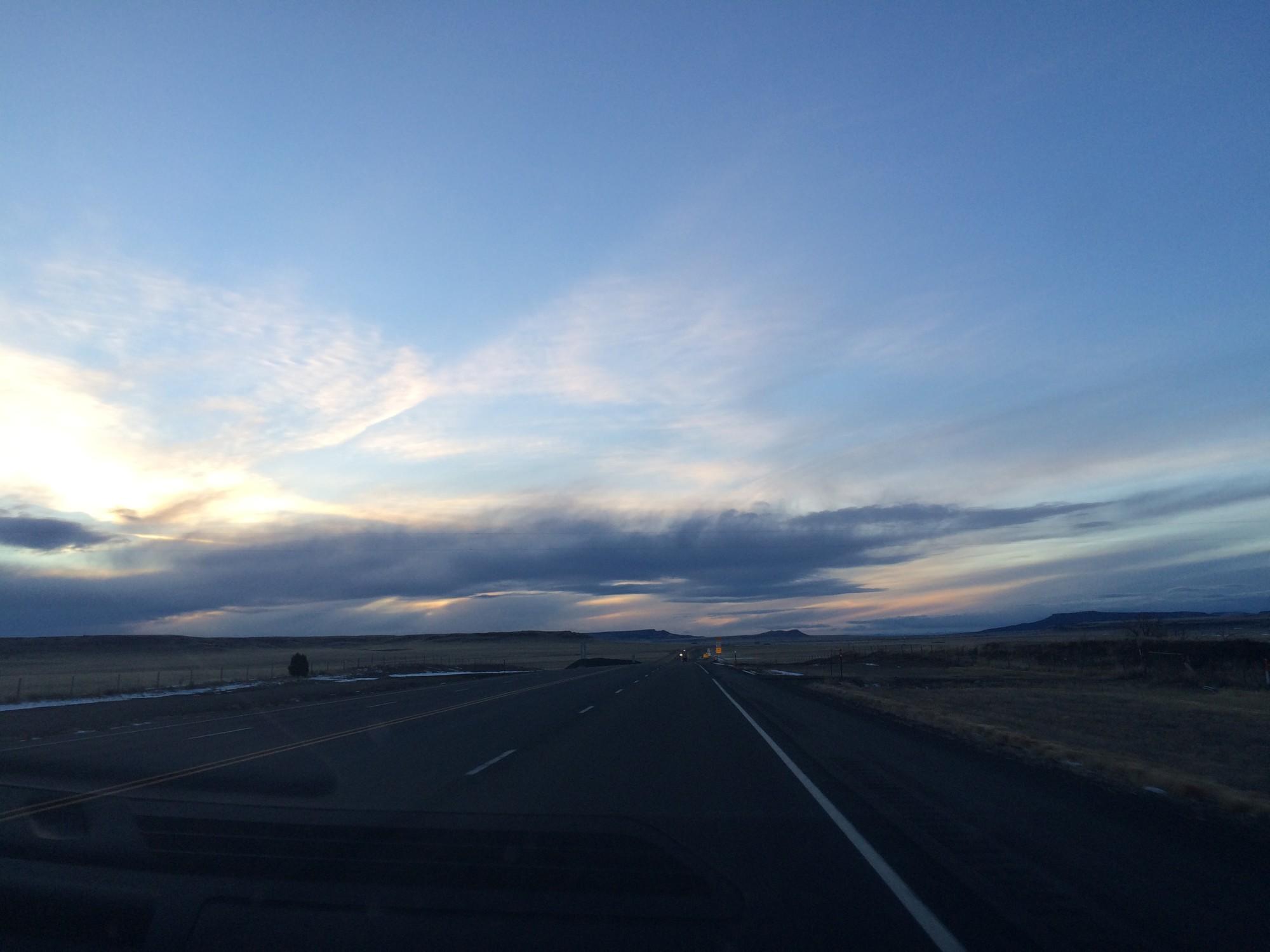 Sun setting in New Mexico