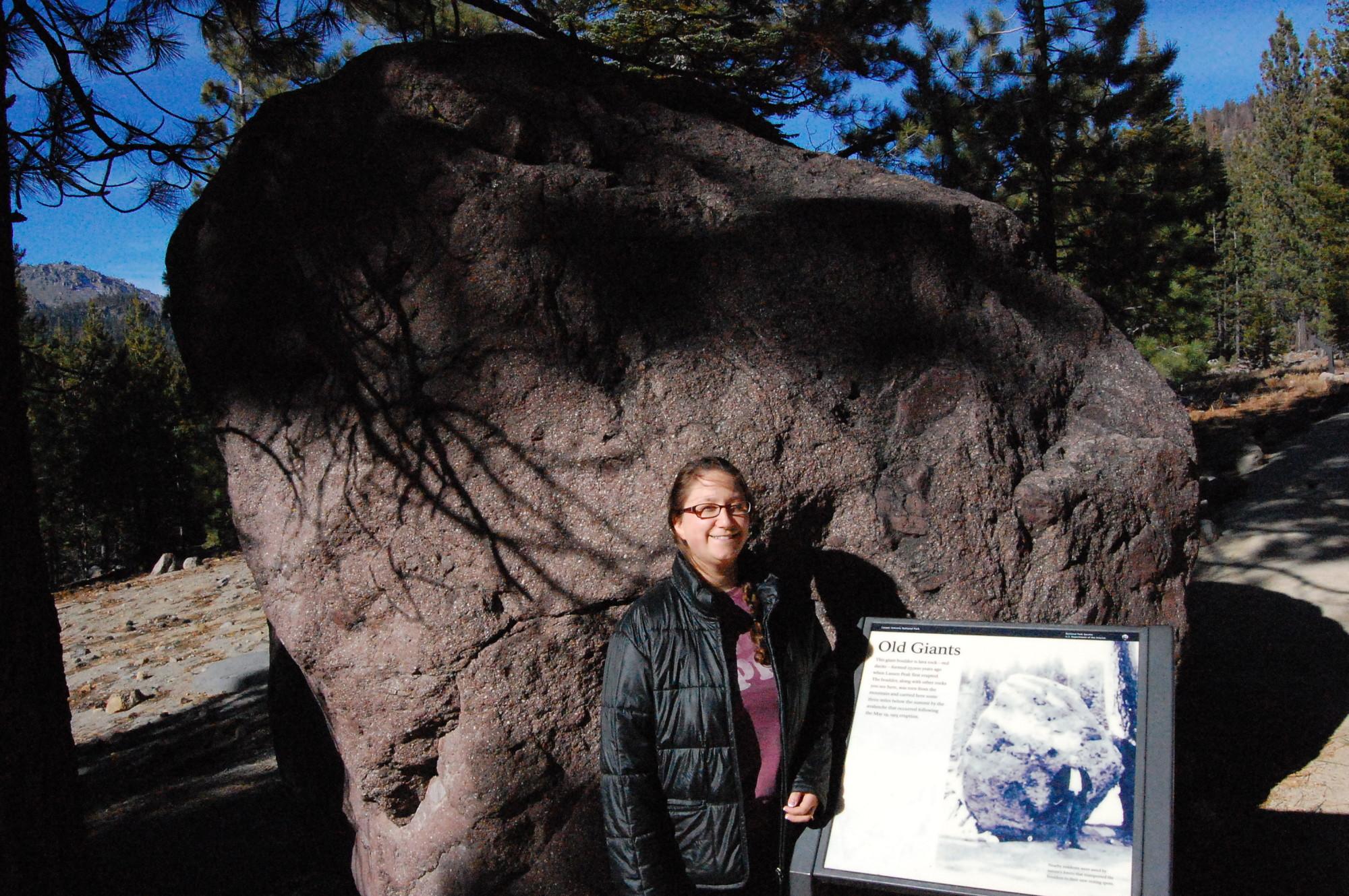 Gigantic boulder that was thrown from Lassen Peak to this spot in 1915