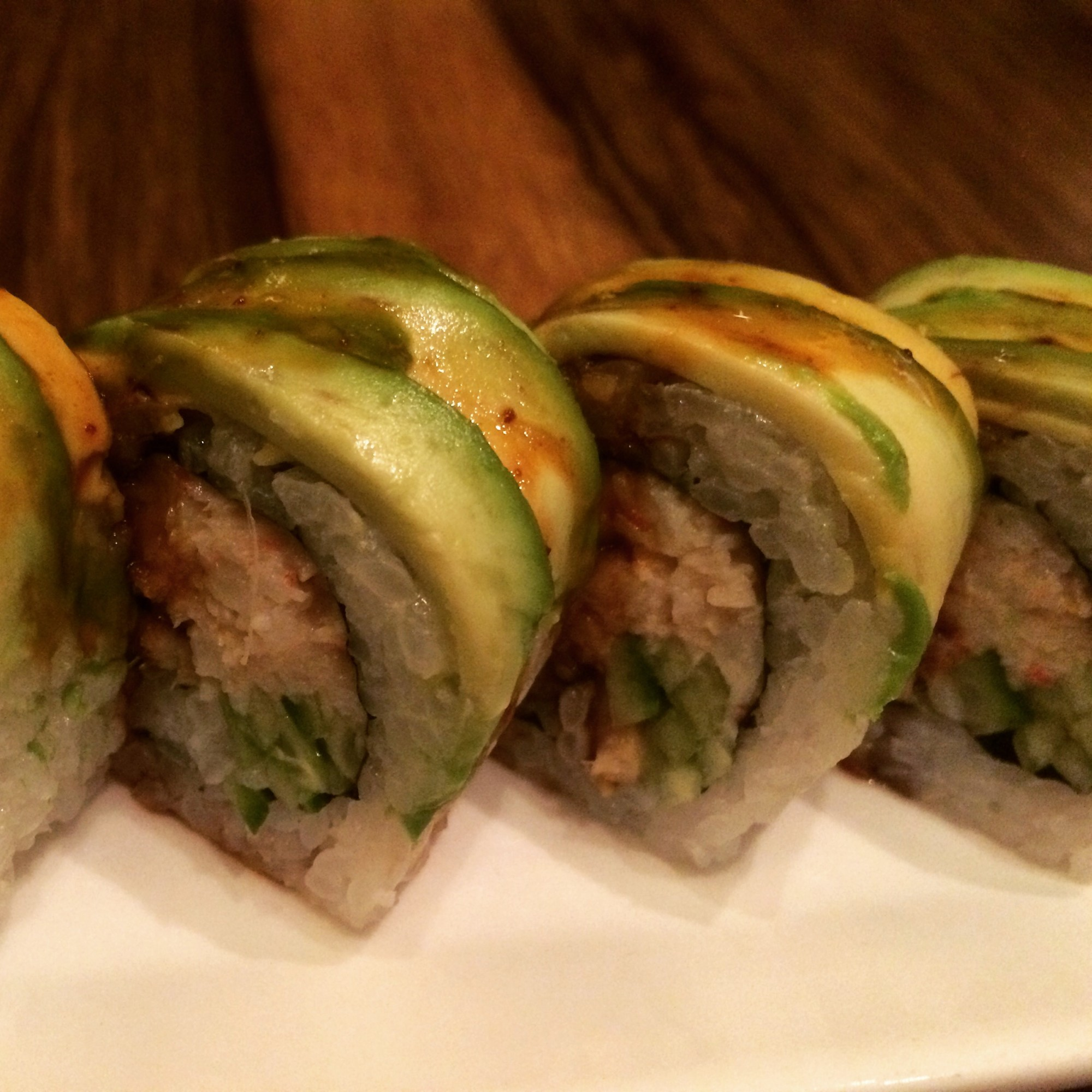 Butterfly Roll: sea eel, crab, cucumber, topped with avocado